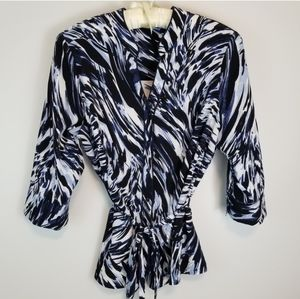 Laura Plus 16 White Blue 3/4 Sleeve Belted Blouse